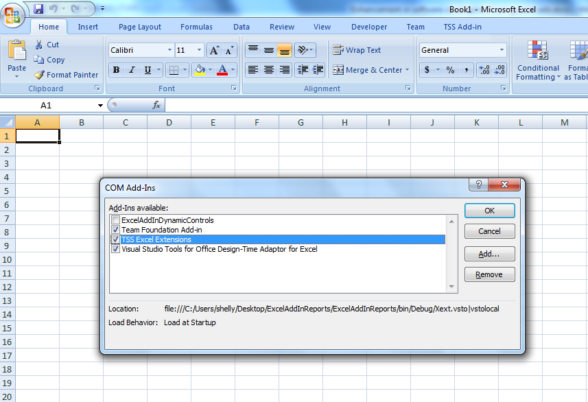 Microsoft Excel 2007 add-in disable enable options