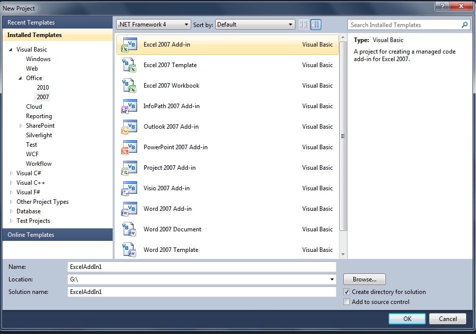 Visual Studio 2010 add-in option
