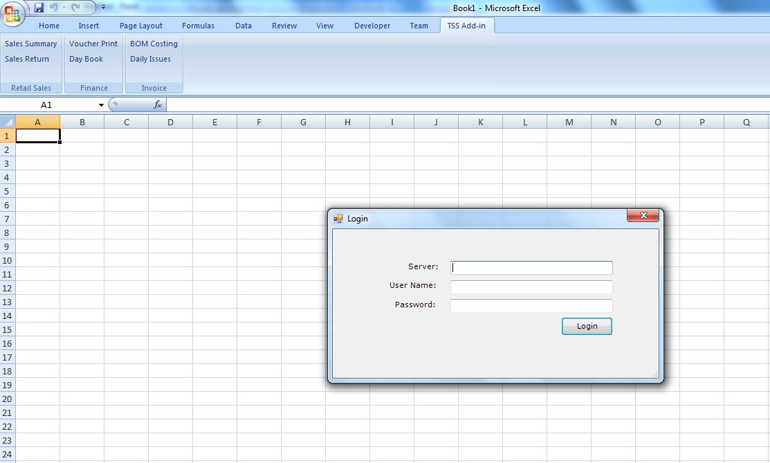 Microsoft Excel 2007 add-in windows form